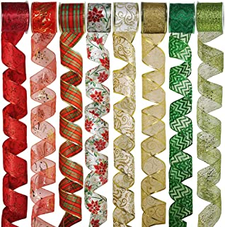 8 Rolls 48 Yards Assorted Christmas Tree Ribbon Plaid Bow Wired Ribbon Craft Gift Wrapping Ribbon Holiday Poinsettia Floral Mesh Sheer Glitter Tulle Organza Ribbon 2.5