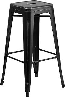 Flash Furniture 30'' High Backless Distressed Black Metal Indoor-Outdoor Barstool