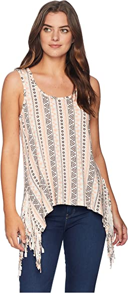 Hi-Low Fringe Side Vent Printed Tank Top
