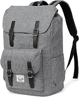VASCHY Schulrucksack Jugendliche Rucksäcke Lässiger Rucksack Camping Rucksack Vintage Rucksack für 15,6 Zoll Laptop Kohlengrau