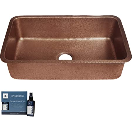 Sinkology SK202-30AC-AMZ Orwell Handmade 30 CareIQ Kit Undermount, Kitchen Sink, Single Bowl, Antique Copper