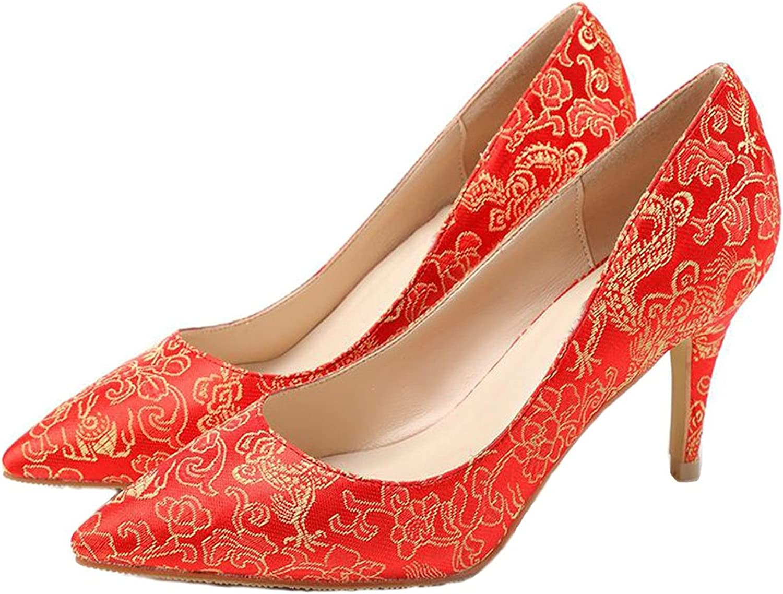 Reinhar Womens Toe Peony Embroidery Wedding shoes Flowers Evening Dress Pump