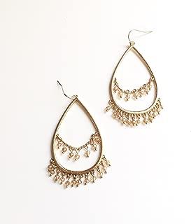 SunJewel vintage inspired bohemian gold teardrop earrings