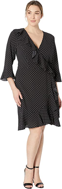 Plus Size Pindot Printed Ruffle Wrap Dress
