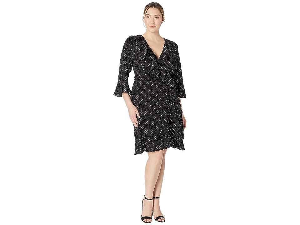 Adrianna Papell Plus Size Pindot Printed Ruffle Wrap Dress (Black Multi) Women