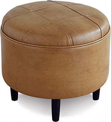 Eastern Accents Luxury Topstitched Faux Leather Upholstered Ottoman, 19x19x20, Tan
