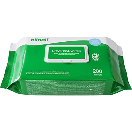 Clinell Universal Cleaning and Disinfectant Wipes for Surfaces - Pack of 200 Thick Wipes - Multi Purpose Wipes, Kills 99.99% of Germs, Effective from 10 Seconds
