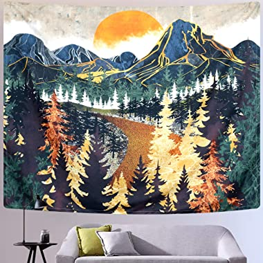 SENYYI Mountain Tapestry Wall Hanging Forest Trees Art Tapestry Sunset Tapestry Road in Nature Landscape Home Decor for Room