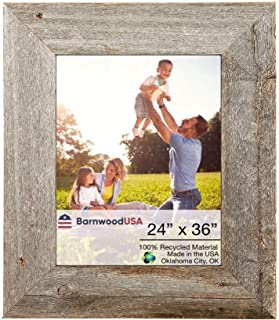 BarnwoodUSA Rustic 24 by 36 Inch Wooden Picture Frames 3 Inch Wide - 100% Reclaimed Wood, Weathered Gray