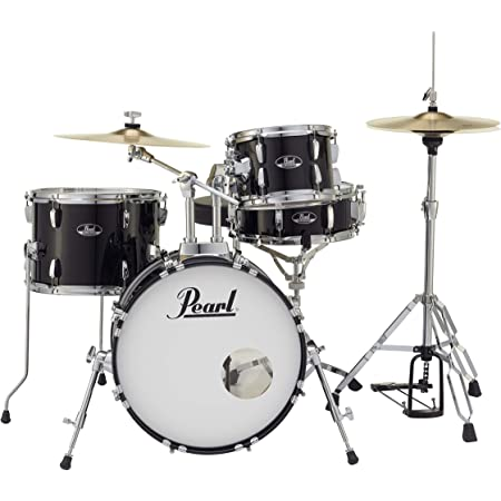 Pearl Roadshow Drum Set 4-Piece Complete Kit with Cymbals and Stands, Jet Black (RS584C/C31)