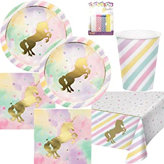 Unicorn Sparkle Party Supplies Pack Serves 16: Dinner Plates, Luncheon Napkins, Cups, Table Cover, and Birthday Candles