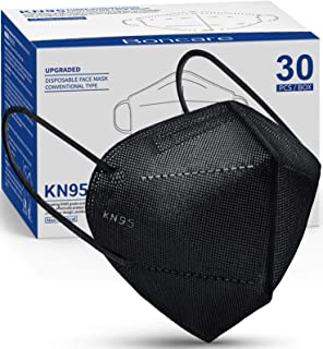 KN95 Face Mask 30 PCs, 5-Layer Black Face Mask for Men & Women Filter Efficiency≥95%