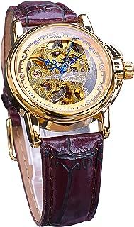 Ganador de moda luminoso esqueleto automático mecánico relojes de mujer vestido de diamante retro correa de cuero relojes ...
