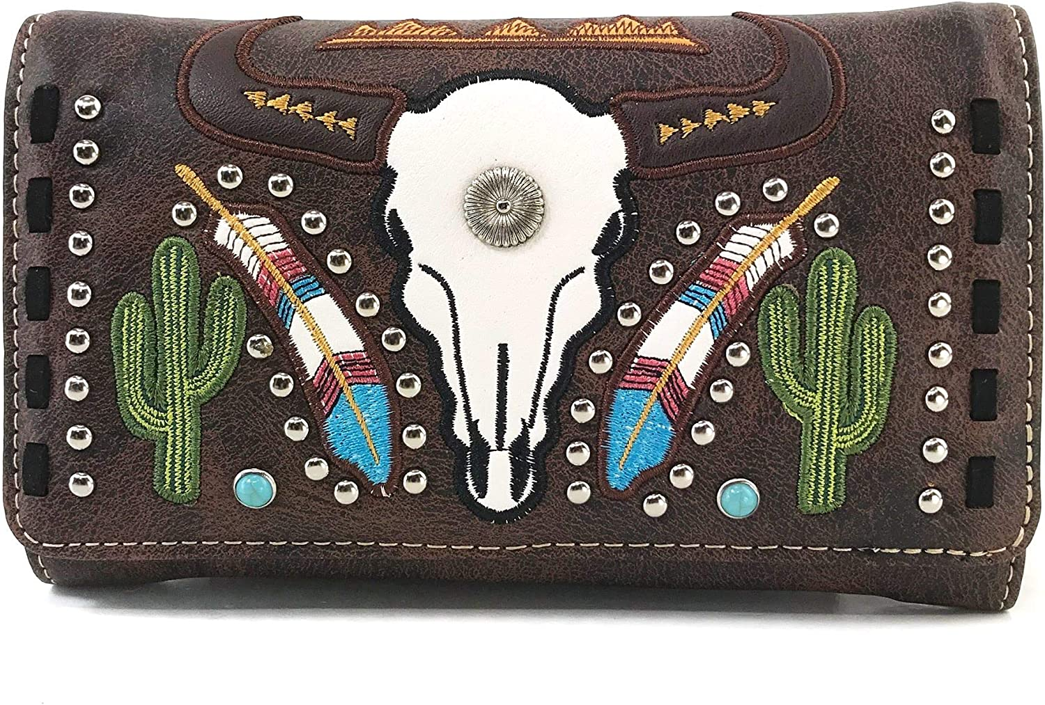 Zelris Design Native Longhorn Cow Skull Cactus Feather Color Crossbody Trifold Wallet