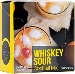 Cocktail Mix | Low Calorie, Low Carb, Low Sugar | All Natural, Gluten Free, Vegan Drink Mixers for Liquor/Spirits and Non-Alcoholic Beverages | 10 Single-Serving Packets by Craftmix (Whiskey Sour)