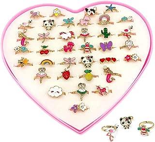 Elesa Miracle 36pcs Children Kids Little Girl Adjustable Jewelry Rings in Box, Mermaid Puppy Panda Unicorn Flamingo Girl Pretend Play Dress up Rings