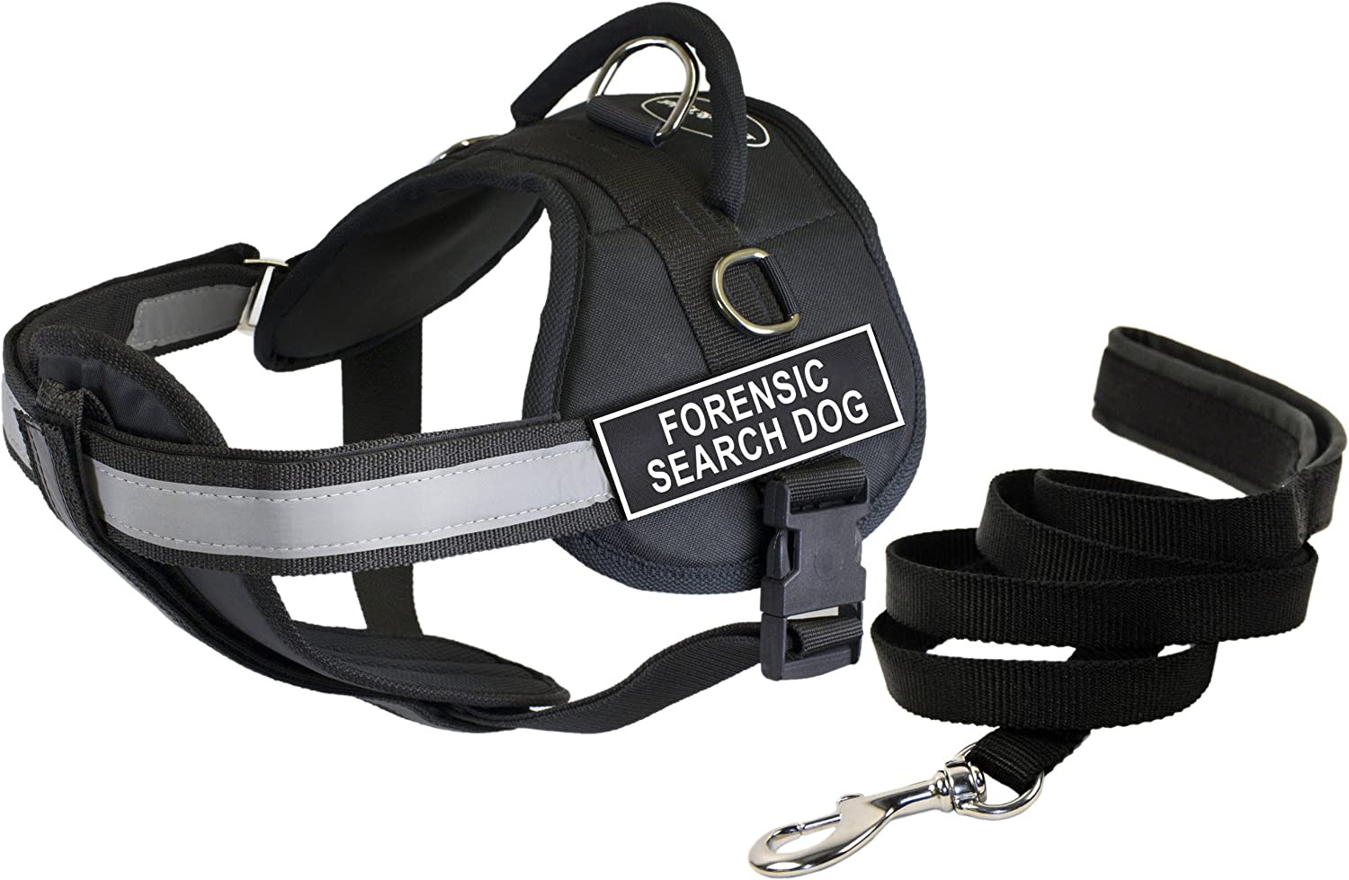 Dean & Tyler's DT Works FORENSIC SEARCH DOG Harness with Chest Padding, Small, and 6 ft Padded Puppy Leash.