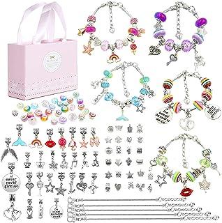 96 Pcs DIY Charm Bracelet Making Kit, Jewelry Making Supplies Bracelet Kit with Snake Chains, Pink Gift Box, Craft Jewelry...