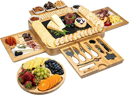 discount SMIRLY Cheese Board and Knife Set - Extra Large Charcuterie Board Set, popular Bamboo Cheese Board Set, Cheese Platter Board, popular Cheese Tray, Cheese Cutting Board Set, Serving Board Charcuterie Board Extra Large sale