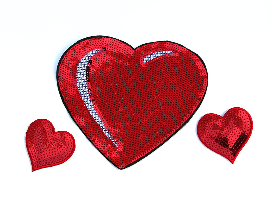 Sequin Heart Patch Set - Valentine's Day Heart Appliques - by Opal & Ivy
