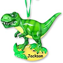 Personalized Friendly Green T-Rex Tyrannosaurus Rex Walking Dinosaur Hanging Christmas Tree Ornament with Custom Name - 4 Inches