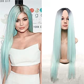 Royalvirgin Kylie Jenner Christmas Mint Green Ombre Wig 26Inch Long Black Ombre Green Straight Synthetic Wig heat Resistant Fiber Wig