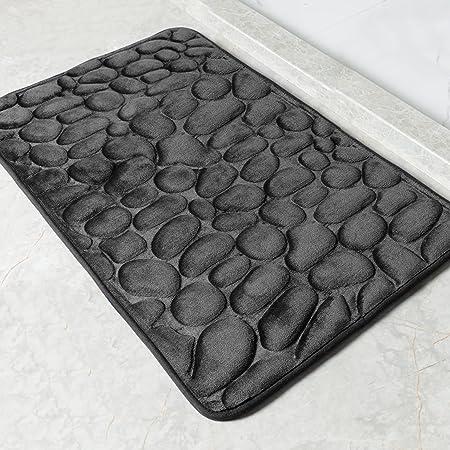 SHANNA Alfombra Baño Antideslizante, Espuma de Memoria Alfombra de Baño Lavable a Máquina, Absorbente Alfombrilla de Baño Masaje de Pies, 40 x 60cm, Negra