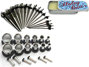Zaya Body Jewelry Includes 16g - Steel Ear Stretching Kit Tunnels Tapers 00g - 16g Plus Instructions Holey Butt'r