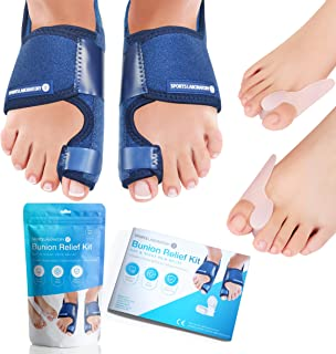 Sports Laboratory Bunion Correctors Day & Night Kit, 2X Bunion Splints and 2X Big Toe Gel Straighteners, Free Bunion Relief Guide, Bunion/Hallux Valgus Pain Relief & Protection, Adjustable Size