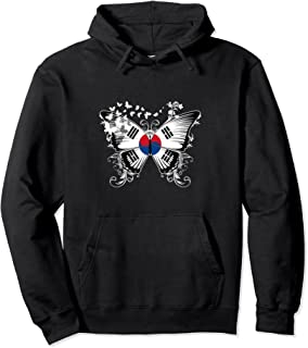 South Korea Flag Pullover Hoodie South Korean Flag Butterfly