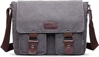 FANDARE Leinwand Messenger Bag Umhängetasche 7.9 inch iPad Tasche Schultertasche Unisex Segeltuch Tasche Arbeiten Tasche für Männer und Frauen, Herren/Damen Reise Umhängetasche Grau