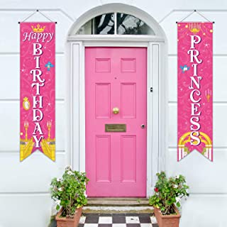 Sumind Princess Decorations Royal Check Flag Event Birthday Banner Princess Sign Porch Sign Welcome for Girl Birthday Them...