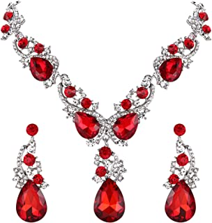 BriLove Women's Wedding Bridal Crystal Multi Teardrop Cluster Statement Necklace Dangle Earrings Set