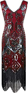 YENMILL 1920s Style Flora Vintage Lace Cocktail Embellished Sequin Beaded Flapper Evening Dress