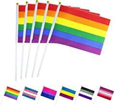 LoveVC 50 Pack Small Min Rainbow Gay Pride Flag LGBT Stick Flags Banner,Rainbow Gay Pride Party Decorations Supplies