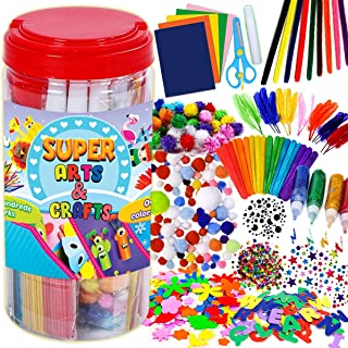 GoodyKing Arts and Crafts Supplies for Kids - Craft Art Supply Jar Kit for Student Age 4 5 6 7 8 9 10 Year Old Crafting Ac...
