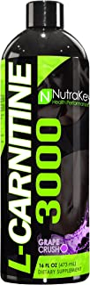 NutraKey L-Carnitine 3000 Liquid Fat Burner, (Grape Crush) 31 Servings