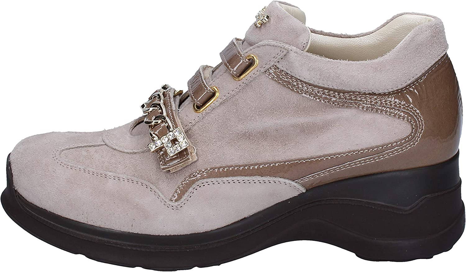 CESARE P. Fashion-Sneakers Womens Suede Beige