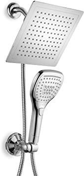"""DreamSpa Ultra-Luxury 9"""" Rainfall Shower Head/Handheld Combo. Convenient Push-Button Flow Control Button for easy one-handed operation. Switch flow settings with the same hand! Premium Chrome"""
