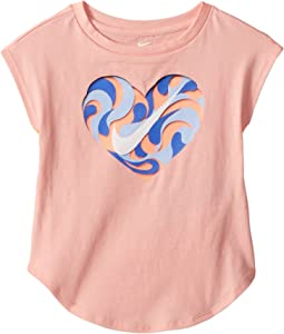 Nike Kids Wavy Heart Short Sleeve Hi-Lo Tee (Toddler)