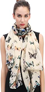 Lina & Lily Butterfly Print Women's Large Scarf Lightweight
