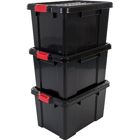 Iris Ohyama 104538 Set de 3 boîtes de Rangement Power Box, Plastique, Noir, 50 Litres