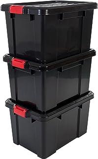Iris Ohyama, set - 3 boîtes de rangement avec fermeture clic - Power Box - SK-450, plastique, noir, 50 L, 59 x 38,5 x 32 cm