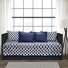 Lush Decor Navy and White Edward Trellis Patterned 6 Piece Daybed Cover Set Includes Bed Skirt, Pillow Shams and Cases, 75...