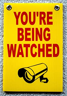 1 Set Garnished Unique You're Being Watched Signs Surveillance Security Video Warning House Trespassing Fence Property Decor Burglar Protect Poster Sign Under Cameras Protected Size 8