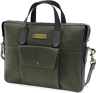 DRAKENSBERG Aktentasche und Hand-Tasche,DIN A4, Lamond-Brief-Case, 11 L, Canvas und Echt-Leder, Dunkel-Grün, DR00402