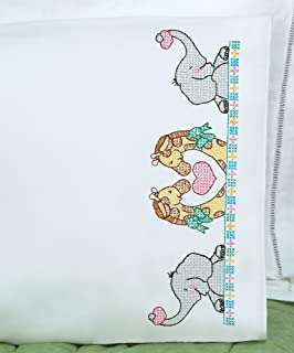 Jack Dempsey Children's Stamped Pillowcase with White Perle Edge 1/Pkg-Noah's Ark