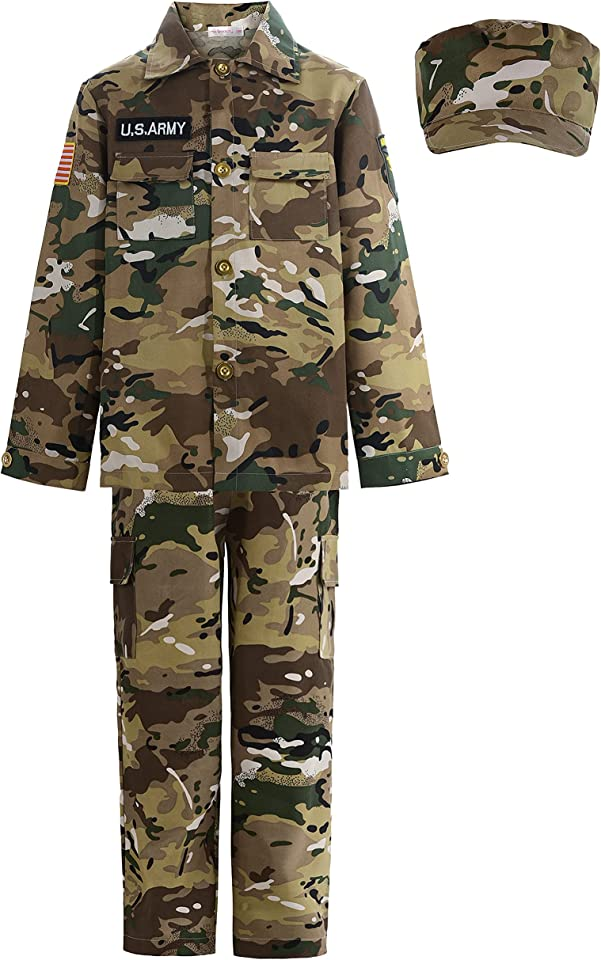 ReliBeauty Soldier Costume Army Camouflage Uniform