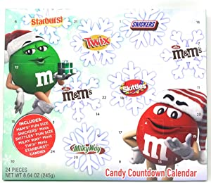 2019 Mars Christmas Advent Calendar with Assorted Candy M&M's, Snickers, Skittles, MilkyWays, Twix and Starburst, 8.64 oz