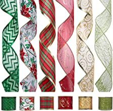 Wired Christmas Ribbon, Assorted Organza Swirl Sheer Glitter Crafts Gift Wrapping Ribbons Colorful Xmas Design Decorations, 36 Yards (6 Roll x 6 yd) by 2-1/2 inch